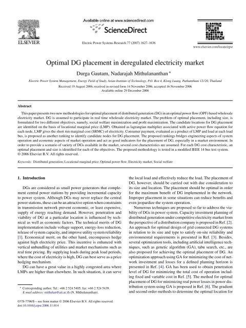 Optimal DG placement in deregulated electricity market - School of ...