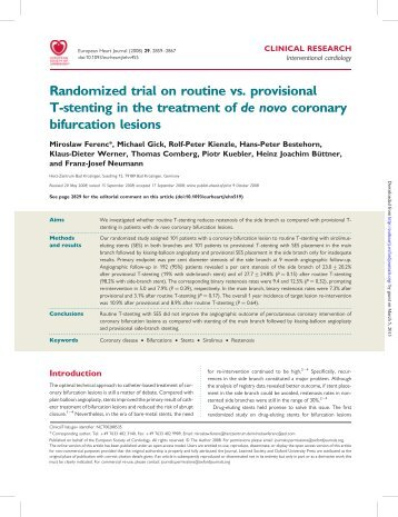 Randomized trial on routine vs. provisional T-stenting in the ...