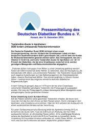 Pressemitteilung des Deutschen Diabetiker Bundes e. V.