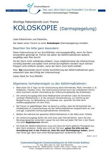 KOLOSKOPIE (Darmspiegelung) - Gastro-koblenz.de