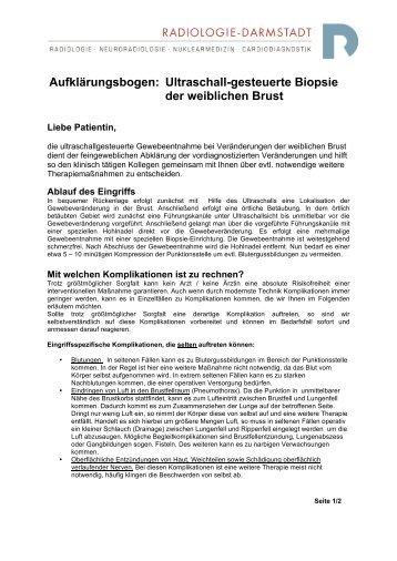 Ultraschall-gesteuerte Biopsie der weiblichen Brust - Radiologie ...