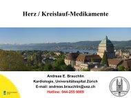 Herz / Kreislauf-Medikamente - UniversitätsSpital Zürich