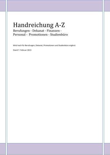 Handreichung A-Z - Fakultät VI Planen Bauen Umwelt - TU Berlin