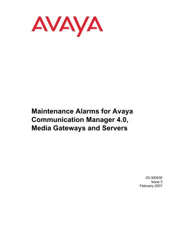 Maintenance Alarms for Avaya Communication ... - Avaya Support