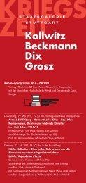 ZEITKollwitz Beckmann Dix Grosz - Musikhochschule Stuttgart
