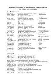 Partiturliste Meisterkurs Angelika Luz - Musikhochschule Stuttgart