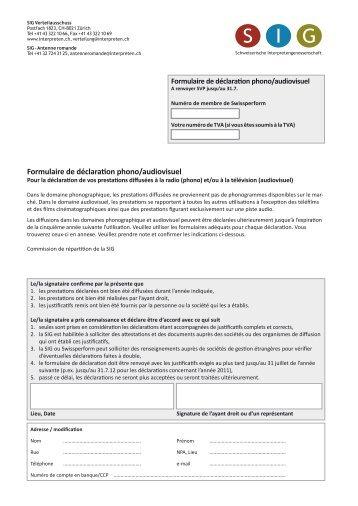 Formulaire de déclaration audiovisuel (utilisations TV) Concerts ...