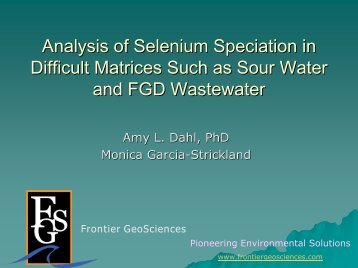 Analysis of Selenium Speciation in Difficult Matrices Such as Sour ...