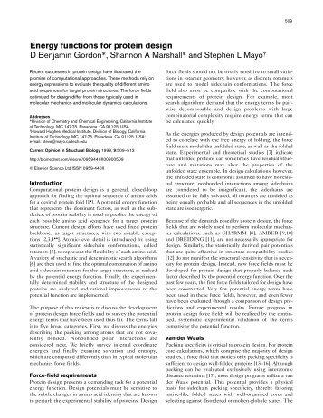 Energy functions for protein design D Benjamin Gordon - California ...