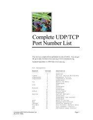 PORT NUMBERS (last updated 2010-04-20) The port     - EnhanceEdu