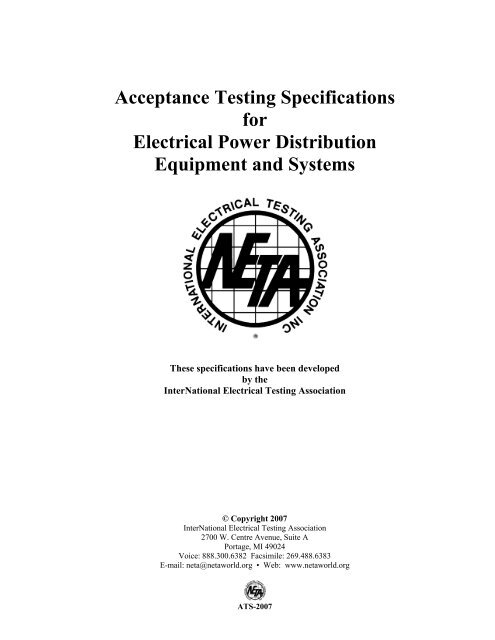 NETA 2007 Acceptance Testing Specifications
