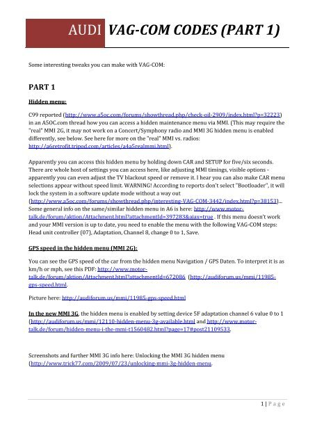 vag-com codes (part 1) - Audi Club Danmark