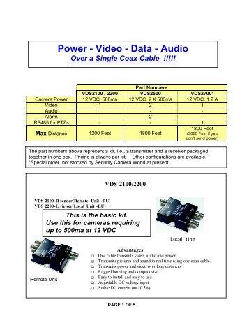 Power - Video - Data - Audio - Security Camera World