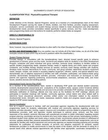 Job Description - Physical Therapist - Moore County School System