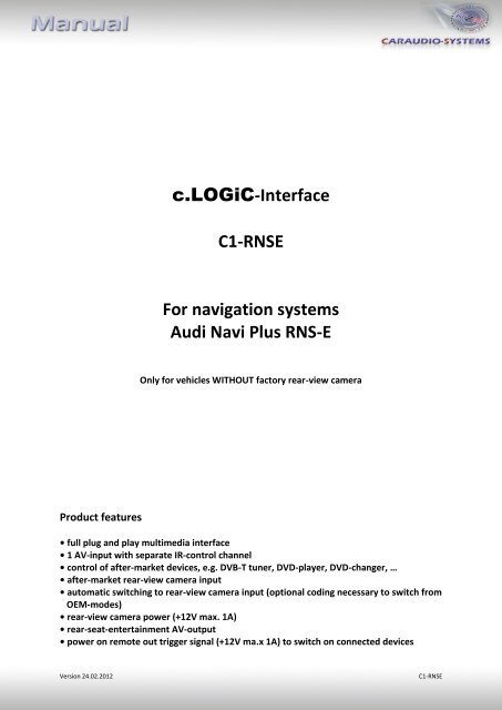 c LOGiC-Interface C1-RNSE For navigation systems Audi Navi