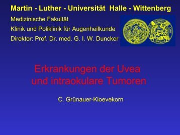 Erkrankungen der Uvea und intraokulare Tumoren - Medizinische ...