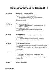 Hallenser Anästhesie Kolloquien 2012 - Medizinische Fakultät der ...