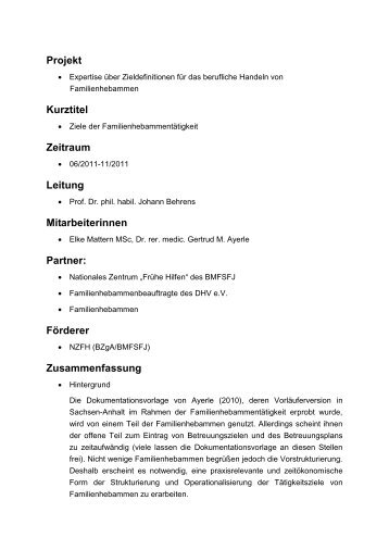 Projekt Kurztitel Zeitraum Leitung Mitarbeiterinnen Partner: Förderer ...