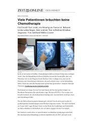 Viele Patientinnen bräuchten keine Chemotherapie