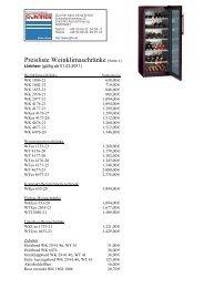 Preisliste Weinklimaschränke (Seite 1) - Günther Kälte-Klima GmbH