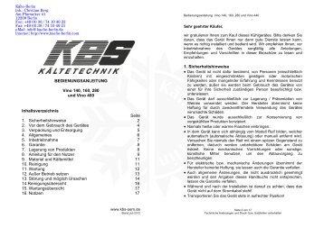 KBS Weinklimaschrank Vino Bedienungsanleitung - Kälte Berlin ...