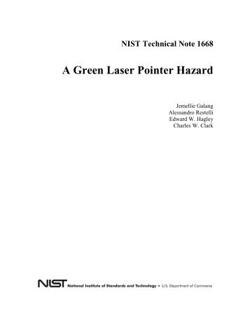 NIST Technical Note 1668 A Green Laser Pointer Hazard