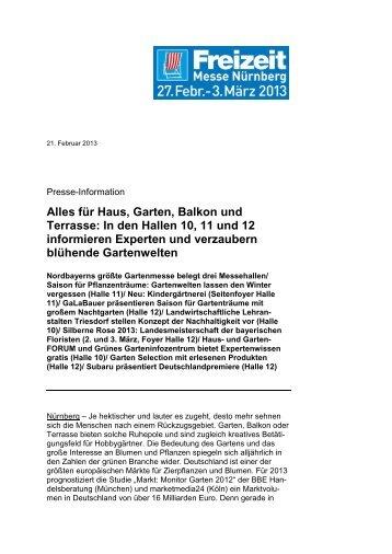 für Haus, Garten, Balkon und Terrasse - Freizeit Messe Nürnberg