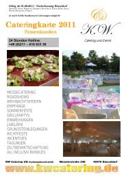 Cateringkarte 2011 - KW Catering & Events