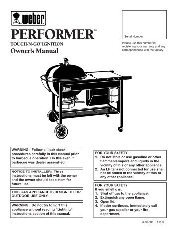 Performer Touch-N-Go Owners Guide 3994601 11 ... - Help - Weber