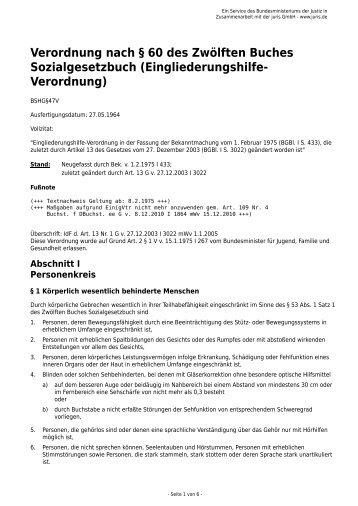 Eingliederungshilfe- Verordnung - Gesetze im Internet