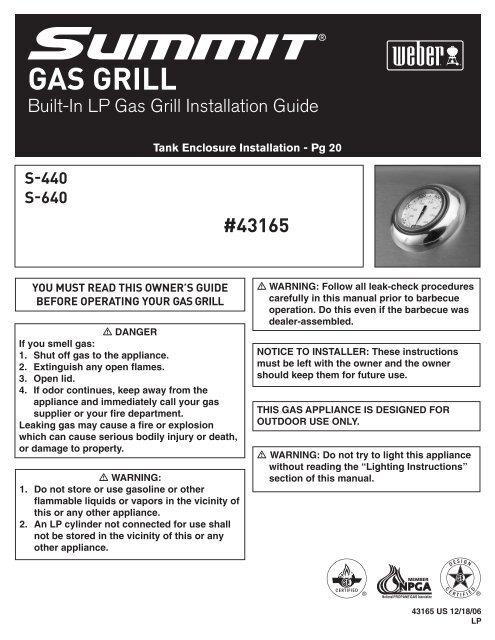 Built-In LP Gas Grill Installation Guide - NorthlineExpress com