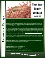 First Year Family Weekend - Dartmouth College