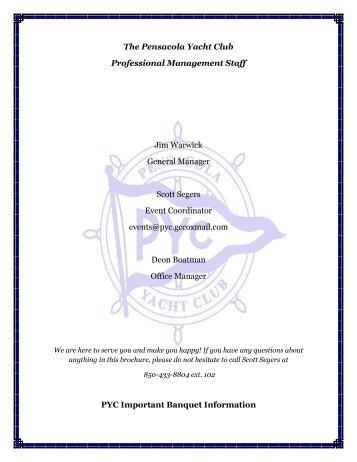 Banquet Information - Pensacola Yacht Club