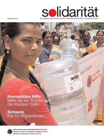 Humanitäre Hilfe Mehr als ein Tropfen auf den heissen Stein ...