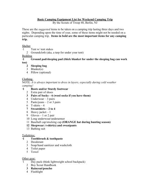 Basic Camping Equipment List For Weekend Camping Trip By The