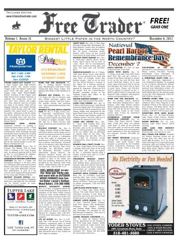 December 6, 2012 Volume 1 Issue 31 - Advertise for Free