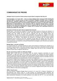 COMMUNIQUÉ DE PRESSE - Intersport