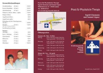 Preisliste-2012 - Glasmann und Aigner Krankengymnastik