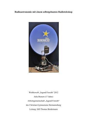 Radioastronomie mit einem selbstgebauten Radioteleskop - Jufo ...