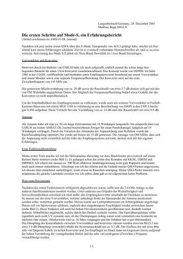 Die ersten Schritte auf Mode-S, ein Erfahrungsbericht - DD1US