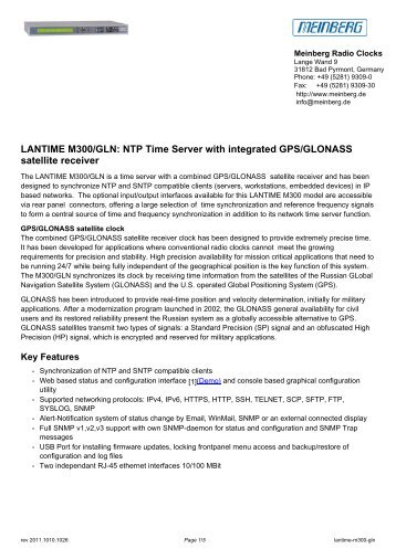 LANTIME M300/GLN: NTP Time Server with integrated GPS ... - JTelec
