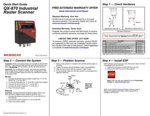 QX-870 Industrial Raster Scanner Quick Start Guide - Microscan