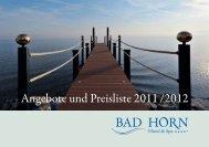 Angebote und Preisliste 2011 /2012 - Bad Horn Hotel & Spa