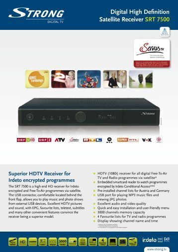 Digital High Definition Satellite Receiver SRT 7500 - STRONG ...