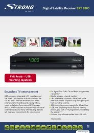 Digital Satellite Receiver SRT 6205 - STRONG Digital TV