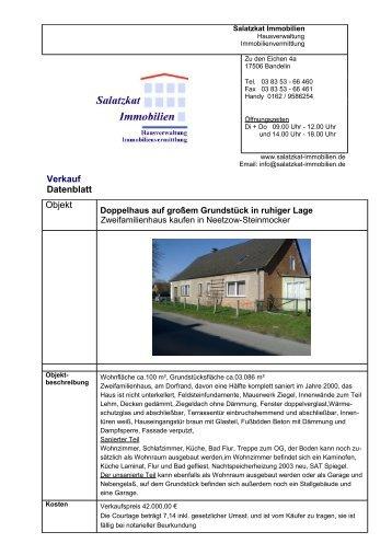 Verkauf Datenblatt Objekt - Salatzkat Immobilien