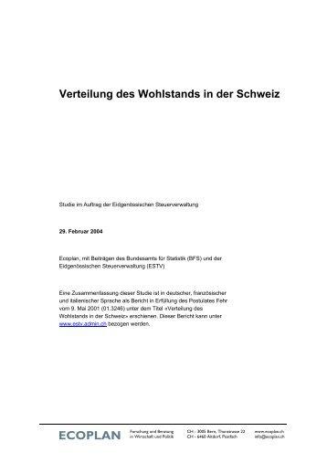 Verteilung des Wohlstands in der Schweiz - Eidgenössische ...