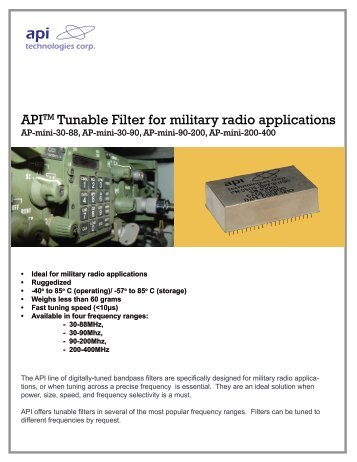 APITM Tunable Filter for military radio applications