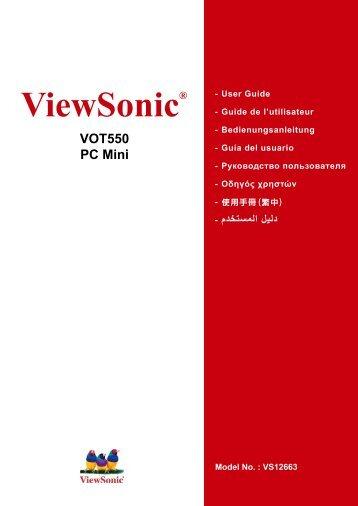 Nettop PC VOT550 User Guide, English - ViewSonic