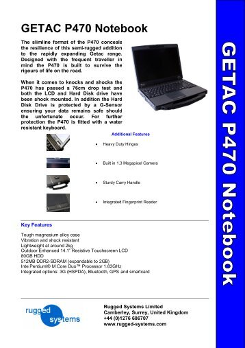 GETAC P470 Notebook - Steatite Rugged Systems
